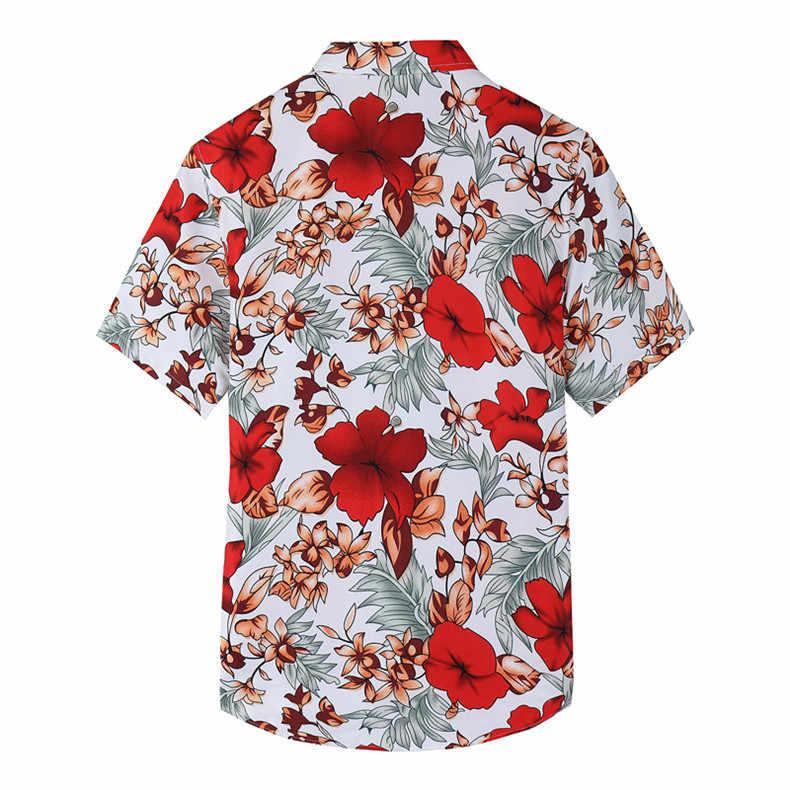 Мода плюс размер гавайская рубашка мужская 2019 брендовая Новая Летняя Пляжная Цветочная рубашка мужская с коротким рукавом повседневные рубашки Chemise Homme 7XL