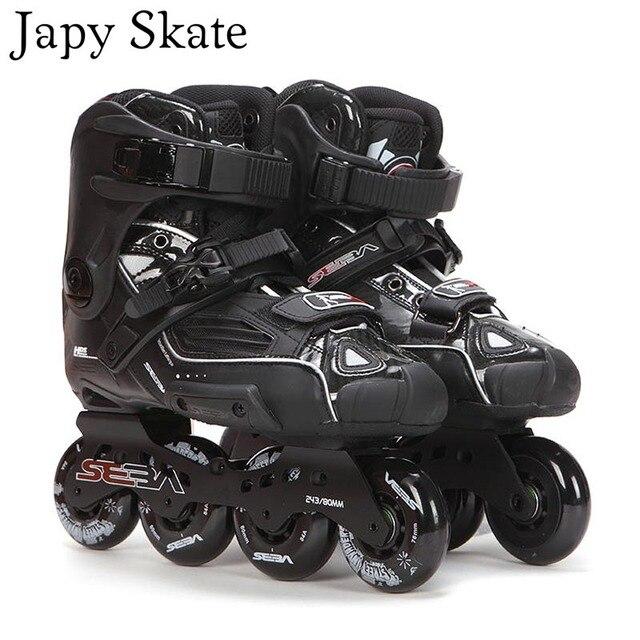 اليابانية سكيت 100% الأصلي سيبا عالية ديلوكس HD الكبار حذاء تزلج بعجلات الأسود الأسطوانة أحذية التزلج Slalom الشريحة FSK Patines الكبار