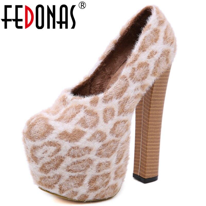 Mode Femmes Plates formes Femme Chaussures Slip Bal Pompes Sexy Sur 1 Hauts Marque Fedonas Noir Mariage Parti Nouvelle Danse Leopard De Talons dgZXwv