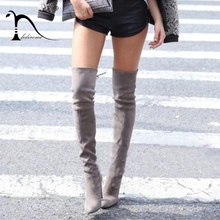 цены FEDIROMA Sexy Over the Knee Boots Woman Faux Suede Slim Boots Winter High Heels Warm Shoes for Women Snow Boot Shoes Botas 35-43