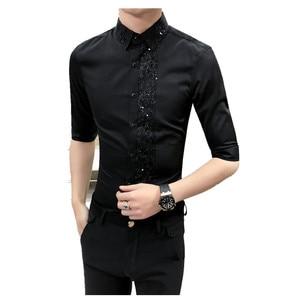 Image 5 - 英国スタイルの男性のシャツ春夏男性服 2020 ハーフスリーブシャツ男性セクシーなレースのパッチワークカジュアルスリムフィットメンズシャツ 3XL
