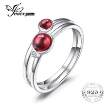 JewelryPalace 0 8ct Fuchsia Genuine Garnet Band Stackable Ring Sets 925 Sterling Silver 2016 New Fashion