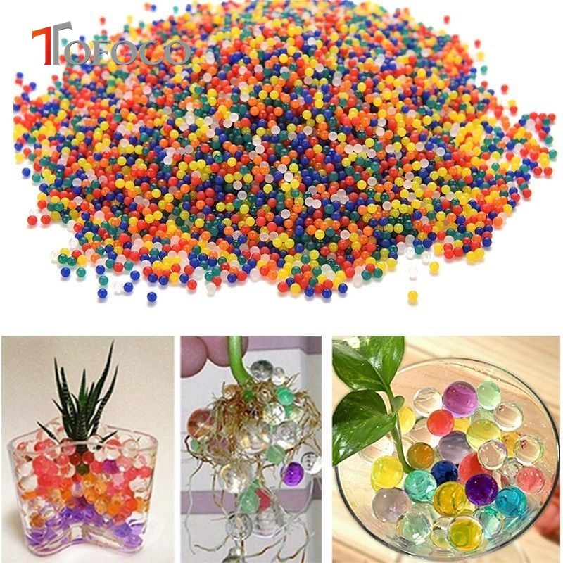 TOFOCO 10000pcs/pack colorful orbeez soft crystal water paintball gun bullet grow water beads grow balls water toys for Kids