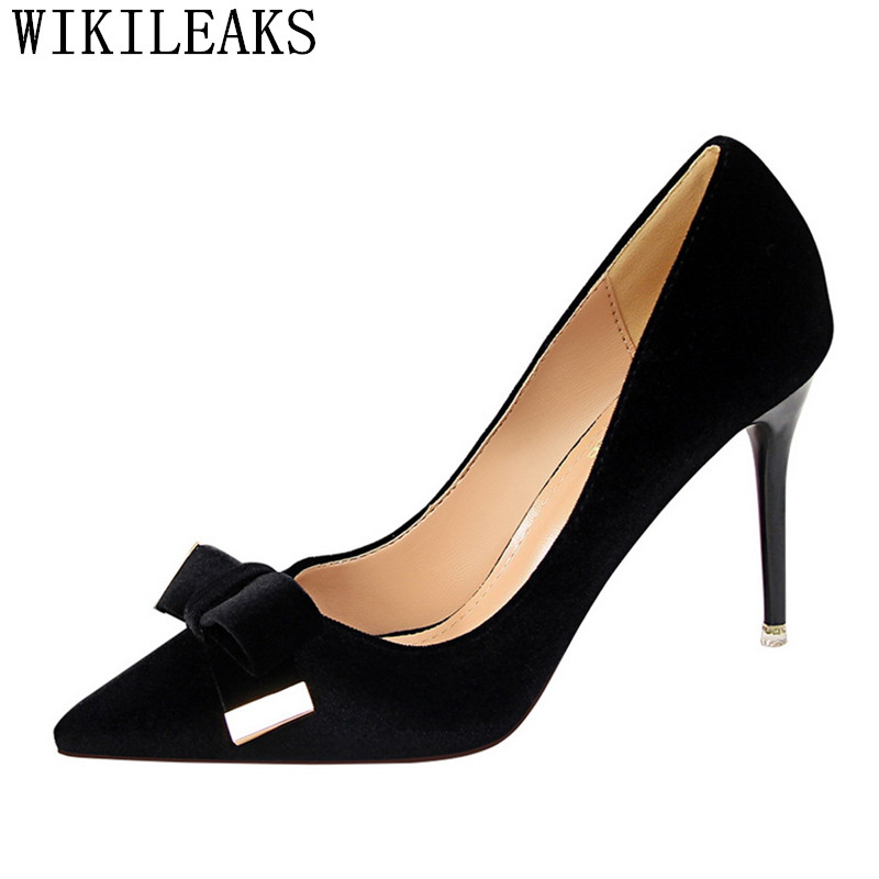 designer women elegant shoes Butterfly-knot high heels shoes woman zapatos mujer tacon sexy pumps bigtree shoes fetish high heel idg brand women slip on high heels short rough with the fall and winter metal buckle rivets shoes woman zapatos mujer tacon