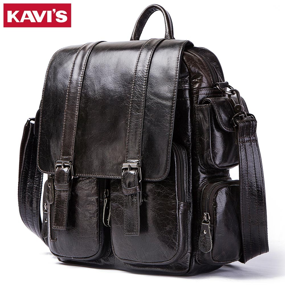 KAVIS 2018 New Black 100% Genuine Leather Mens Backpack Large Capacity For Travel Casual School Bag Schoolbag for Laptop