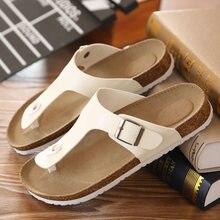 Большие размеры 12, 35-45, унисекс, брендовые парные пробковые Вьетнамки, летние пляжные тапочки на платформе, повседневные женские сандалии с пряжкой и ремешком