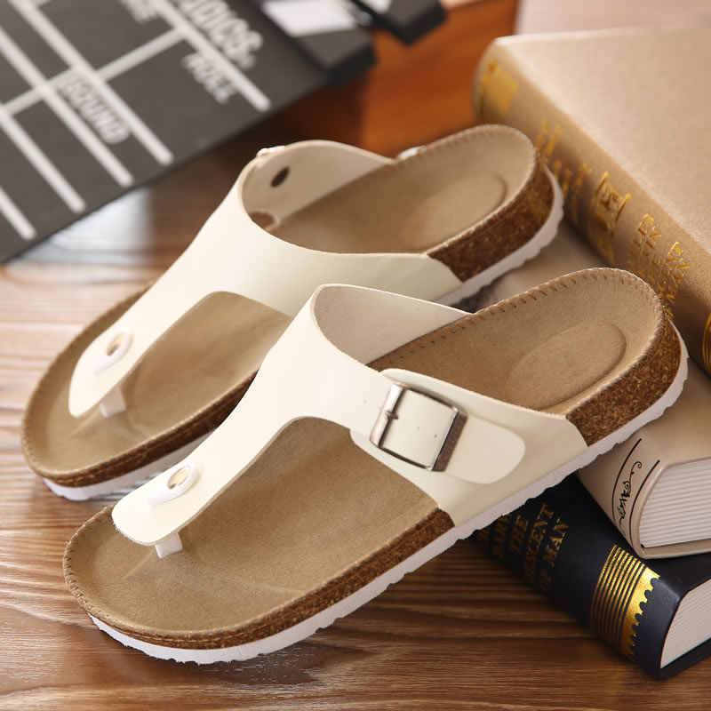 7e77f64c3fd Big Size 12 35-45 Unisex Brand Couples Cork Flipflops Summer Clip Toe  Platform Beach