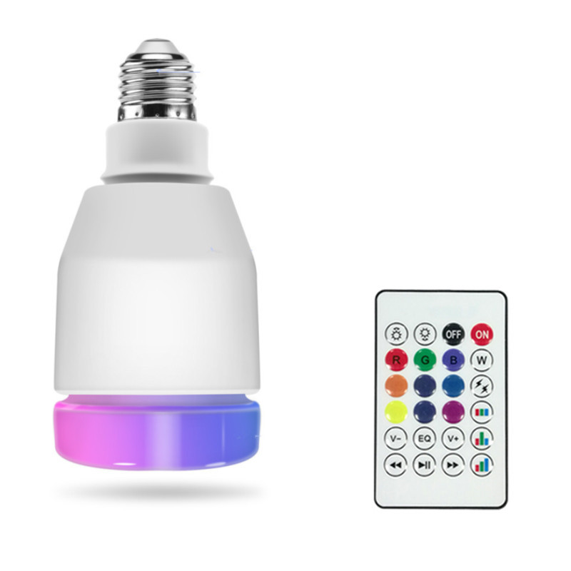 1pc RGBW 14W Led Smart Bulbs E27 LED Lamp Remote Control Bluetooth 4.0 Speaker Music Colorful Dimmable Led Light AC100-240V image