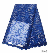 Latest African Laces Fabrics Embroidered tulle French Lace Fabric With stones 2019 Net 119