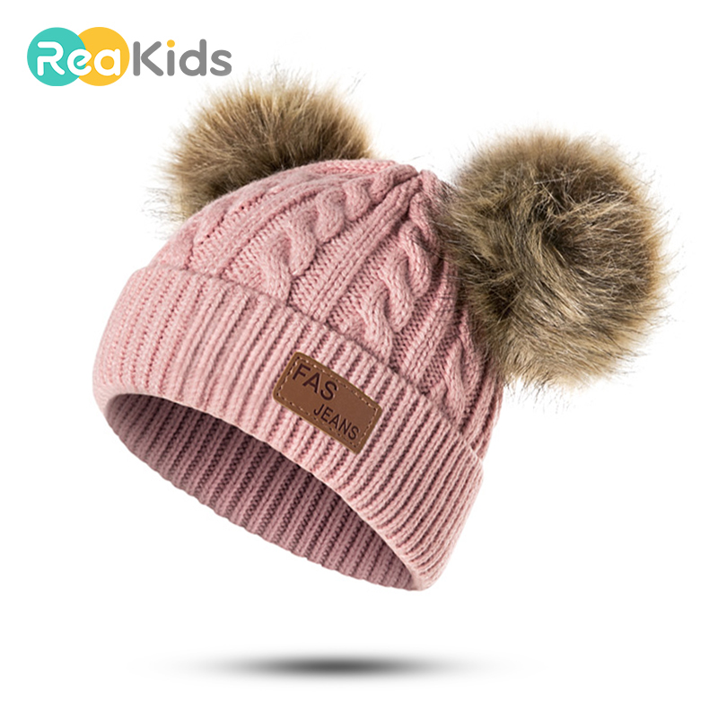 REAKIDS Pompon Winter Children Knitted Cute Cap Baby