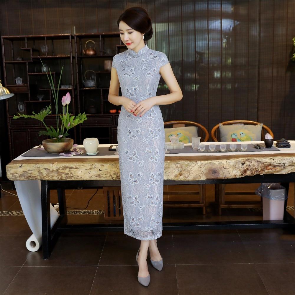 Argent Long Robes Cheongsam Pour Cheong Histoire Dentelle Shanghai Femmes Oriental Chinois Qipao À sam Robe fZtvIRxqw