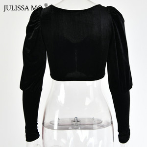 Image 5 - JULISSA MO Black Strapless Sexy Short T shirts Women Elegant Velvet Puff Sleeve Cropped Shirts Tee Female Velvet Summer Crop Top