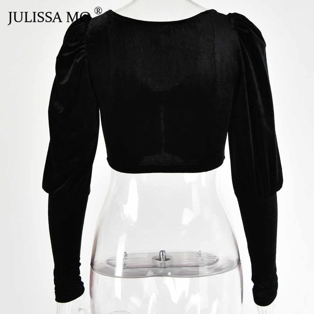 Julissa mo, черные сексуальные короткие футболки без бретелек, Женские Элегантные Бархатные укороченные футболки с пышными рукавами, женские бархатные летние кроп-топы