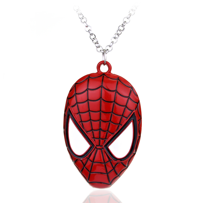 <font><b>1</b></font> pc Ship Superhero DC Comics Red Spider-man The Amazing <font><b>Spiderman</b></font> <font><b>Mask</b></font> Pendant Necklace Fashion Jewelry for Men Wholesale Cheap