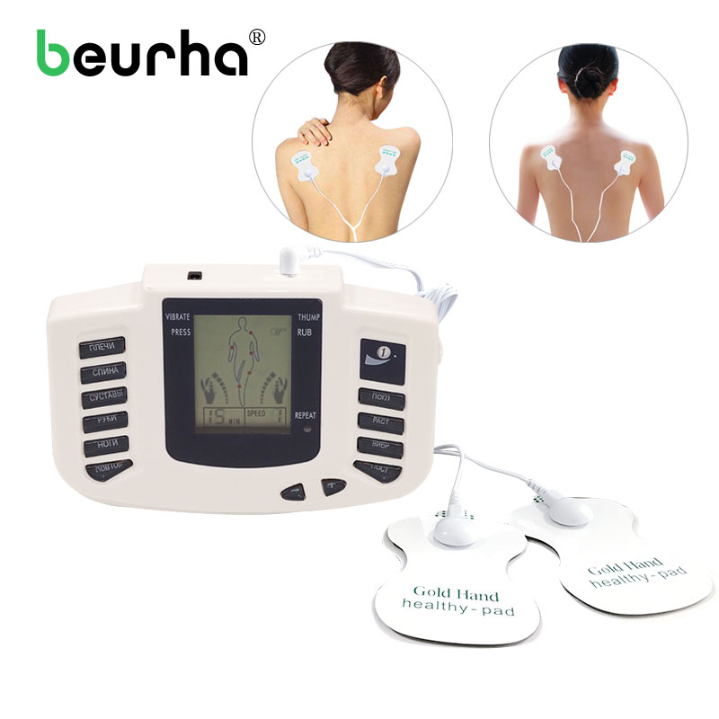 Beurha Health Care Electrical Muscle Body Stimulator Massageador Tens Acupuncture Therapy Machine Slimming Body Massager 16 pad 4 electrode tens acupuncture electric therapy massageador machine pulse body slimming sculptor massager apparatus body care
