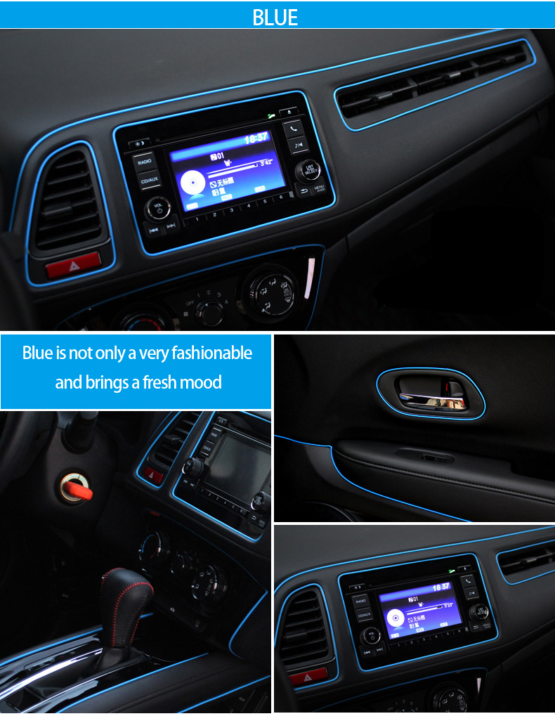1m multicolor fluorescent car decoration car interior moulding trim strip car styling flexible. Black Bedroom Furniture Sets. Home Design Ideas
