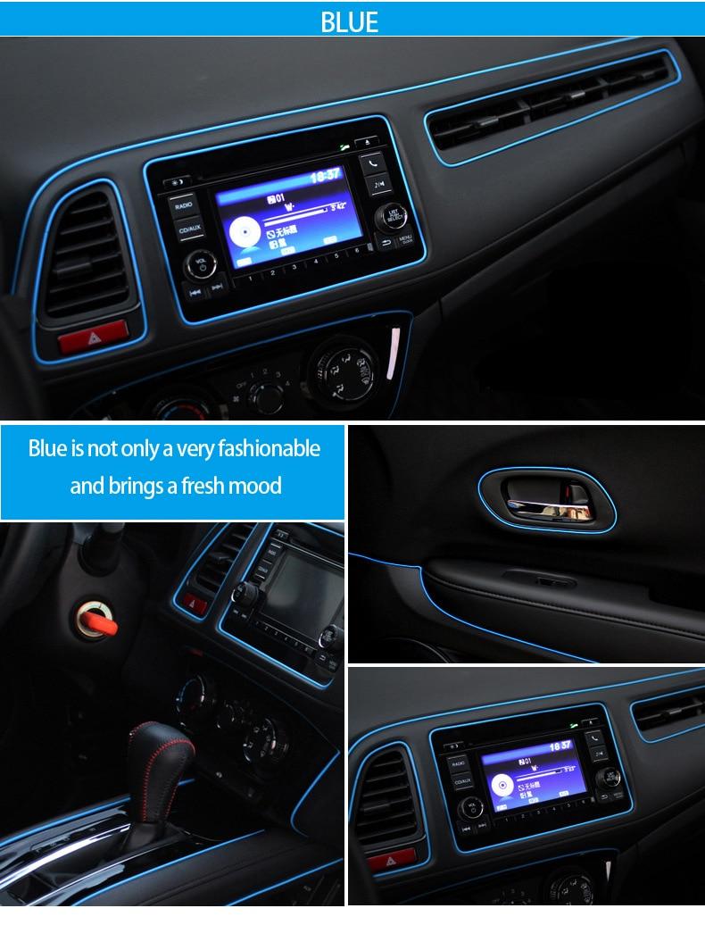 1m multicolor fluorescent car decoration car interior moulding trim strip car styling flexible. Black Bedroom Furniture Sets. Home Design Ideas