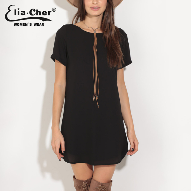 Elia-Cher Brand Casual Loose Fitting Dress With Round Neck