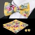F-603 Hi-Empate Bowtie Amarillo Pañuelo de Seda Pajaritas Para Los Hombres de La Boda Gemelos de la Moda Floral De Navidad Para Hombre de la Pajarita conjunto