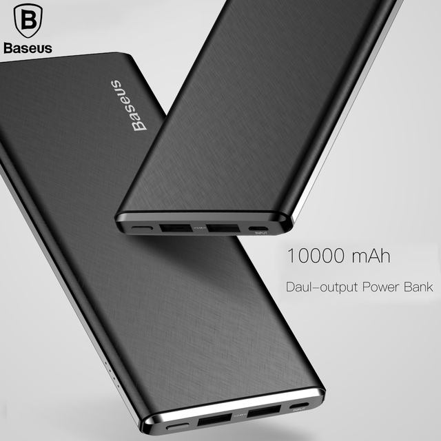Baseus 10000mAh Dual USB Power Bank For iPhone X 6 7 8 Battery Charger Powerbank Mobile Phone Portable External Battery Charger