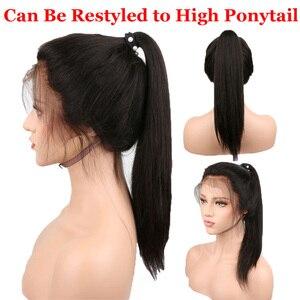 Image 5 - 스트레이트 360 레이스 정면 가발 인간의 머리카락 레이스 프론트 가발 베이비 헤어 페루 레미 인간의 머리카락 Pre 뽑은 표백 매듭 150%