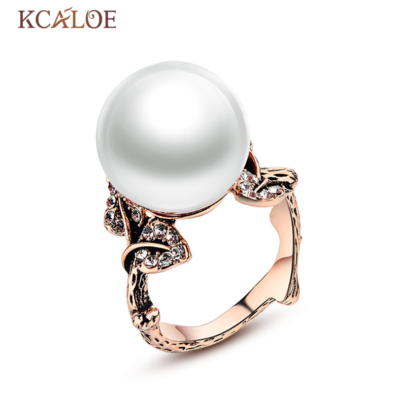 KCALOE Vintage Pearl Ring Real Retro Natural Round Shell Pearls Wedding Jewelry Crystal Rhinestone Leaf Rings For Women Anillo stylish faux pearl rhinestone eye ring for women