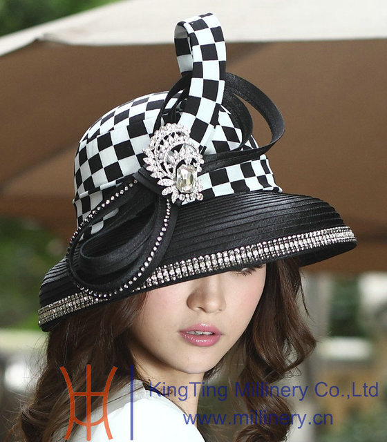 33d05820a79 Free Shipping Fashion New Winter Hat Elegant Women Hats Satin Dress Hat  Black Brim Ribbons With