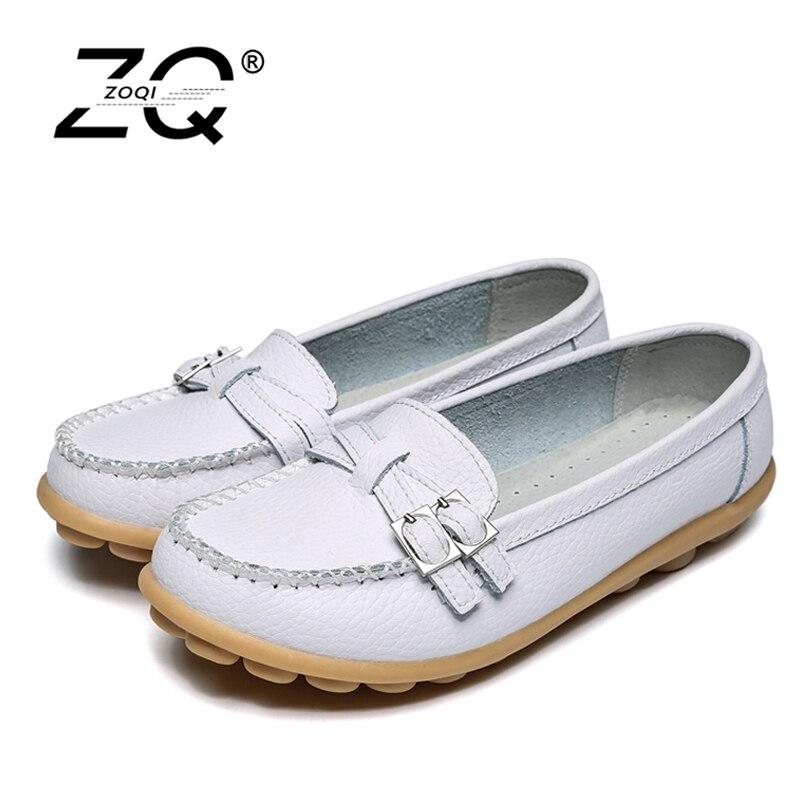 ZOQI Shoes Woman 2017 Genuine Leather Women Shoes Flats 7Colors Loafers Slip On Women's Flat Shoes Moccasins X002 цена и фото