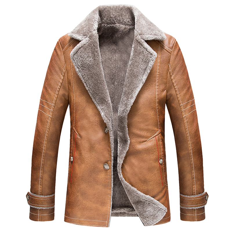 England Style Vintage Mens Leather Fur Coat High Quality Russian Leather Jacket Overcoats Big and Tall Man Mens Fur Coats C026