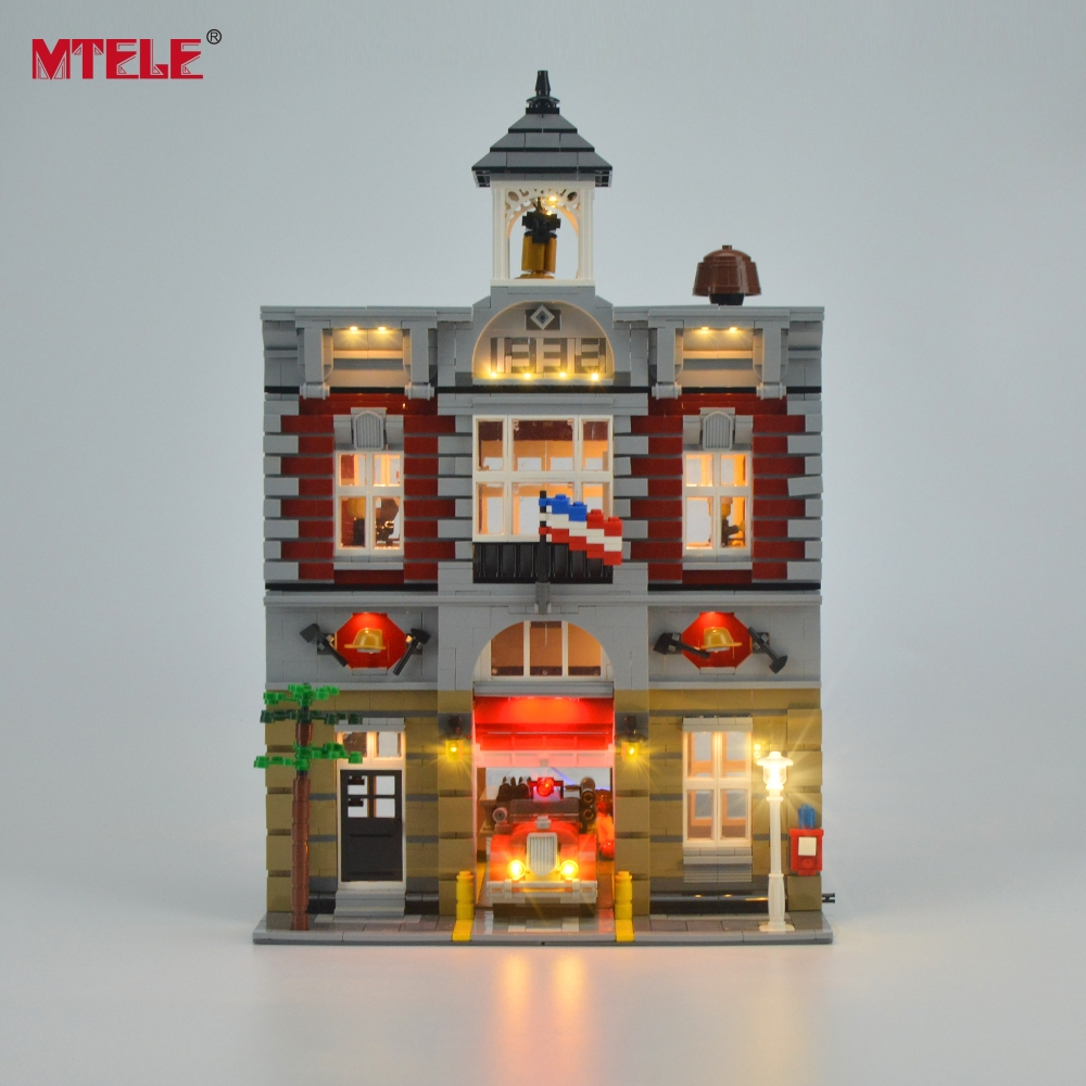 MTELE Brand LED Light Up Kit Leksak för brandstationer Station Creator City Street Lighting Set Kompatibel med Lego 10197 och 15004