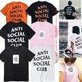 Antisocial Club Social Camisetas Hombres Mujeres Alta Calidad del 1:1 algodón Del O-cuello de Manga Corta de Verano Marca de Moda Hip Hop Assc camiseta