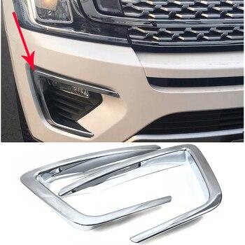 Auto styling ABS Chrom Außen Front Nebel Licht Lampe Abdeckung Dekoration Aufkleber Trim 2 stücke Für Ford Expedition 2018 2019