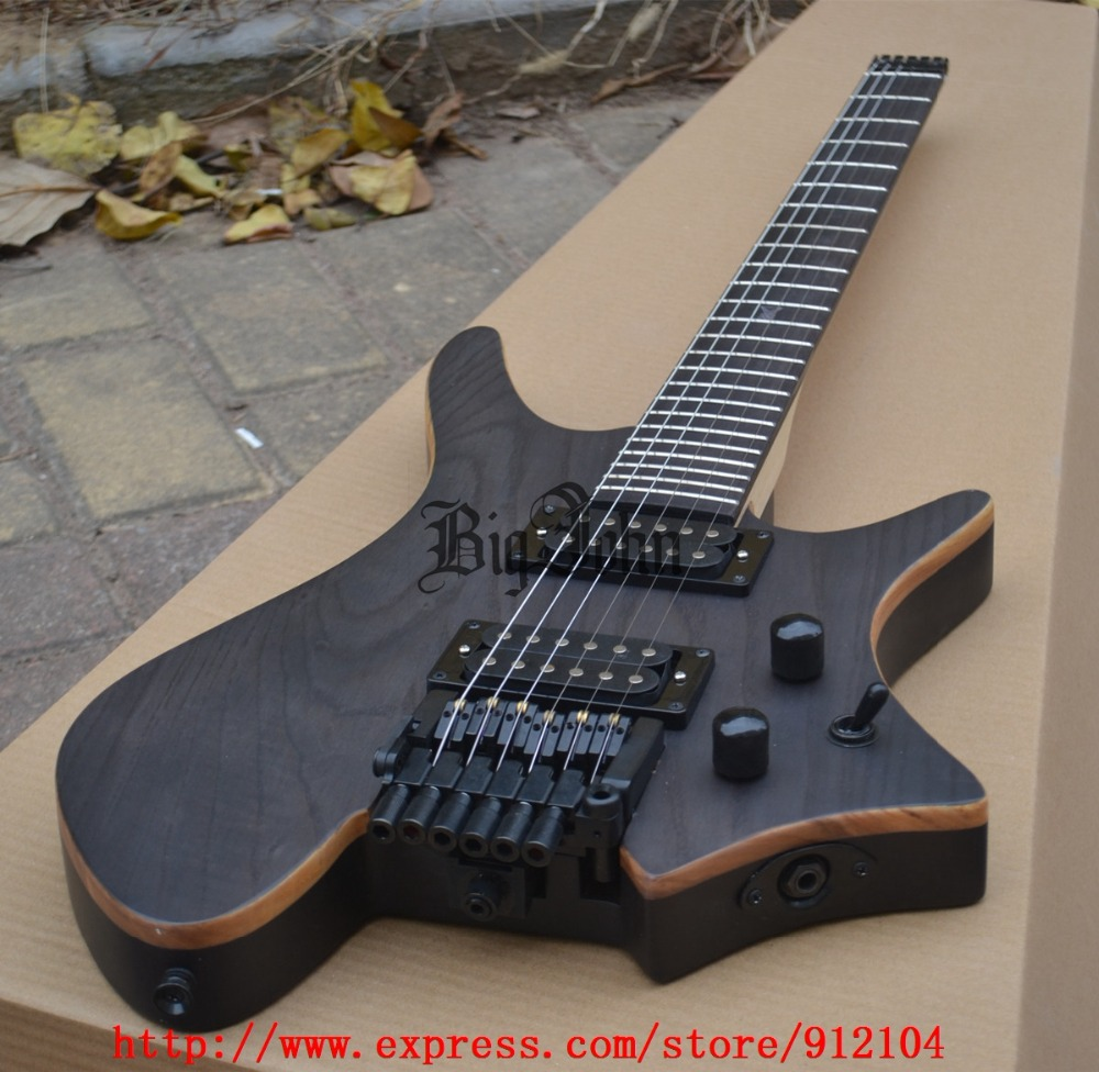 New headless electric guitar in matte black with ash body free shipping BJ-125