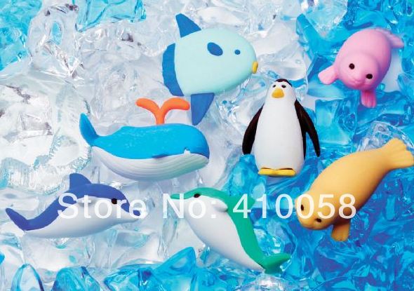 New Arrival Free Shipping Fantastic Cute  Sea Animal Party Eraser Set ,Promotion School Stationery Eraser,40 Pieces Per Lot
