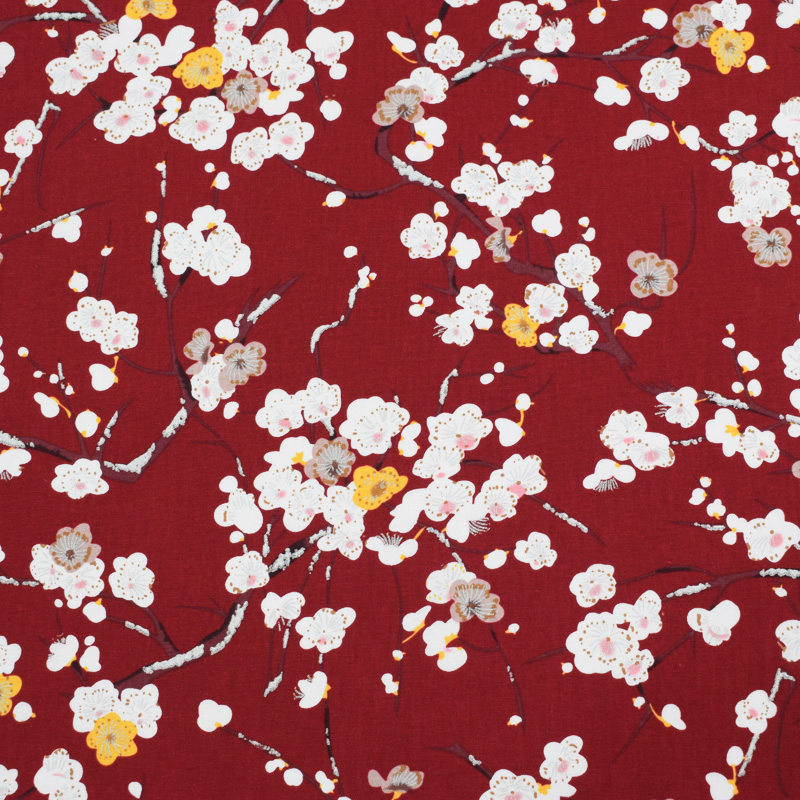 The <font><b>plum</b></font> blossom reactive dyeing 100%cotton fabric for summer dress <font><b>handbags</b></font> tissus au metre tecido shabby chic vestido DIY tela