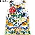 2017 A Linha de Vestido de Princesa Meninas Roupas de bebê Vestido Da Menina de Outono Floral Impressão Vestidos Da Menina Da Criança Crianças Roupas Robe Fille Enfant