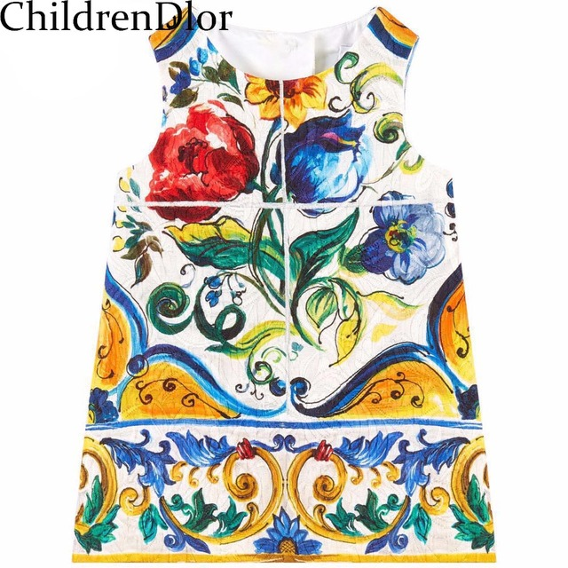 Baby Girl Dress Autumn 2017 A-Line Princess Dress Girls Clothes Floral Print Toddler Girl Dresses Kids Clothes Robe Fille Enfant