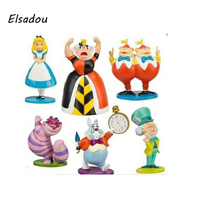 Alice In Wonderland Action Figures The Mouse Mad Hatter Red Queen King March Hare Gifts for Children 6pcs/ Set