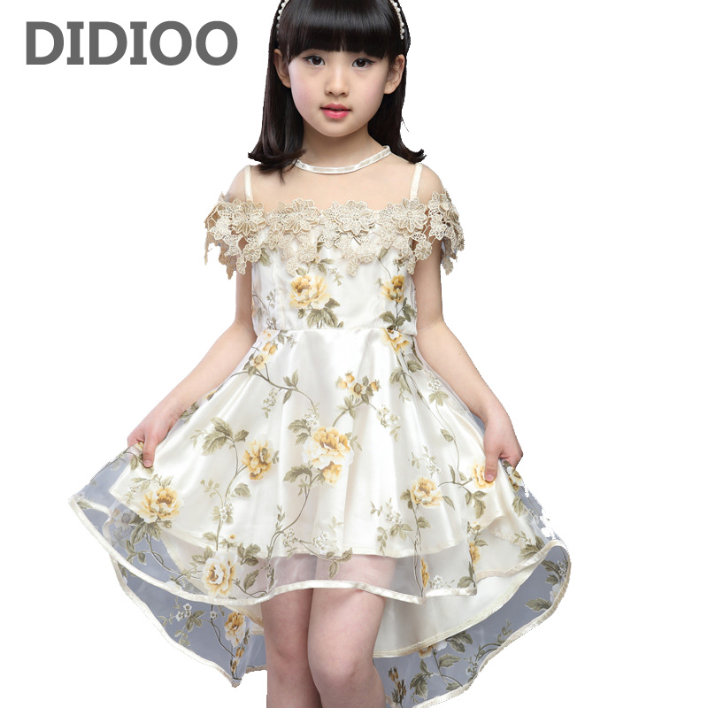 Voile Dresses for Girls Summer Flowers Dresses Kids Dovetail Dress Children Clothes Infant Vestdios 9 10 12 Years Princess Dress
