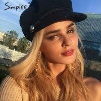 Simplee Fashion Black Hat Cap Women Casual Streetwear Woollen Flat Cap Elegant Solid Autumn Winter Warm
