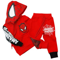 Baby Boy Clothes Sets Cotton Hooded Tracksuit Cartoon Spiderman Pullover Kids Clothes For Children Sweatshirt Suits