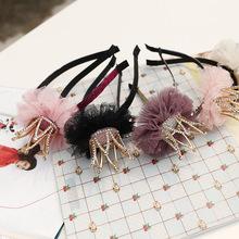 Korea  High Quality Hand Made Crow  flowers Retro Hair Accessories Hair Bows  Flower Crown Hairpin Headbands For girls