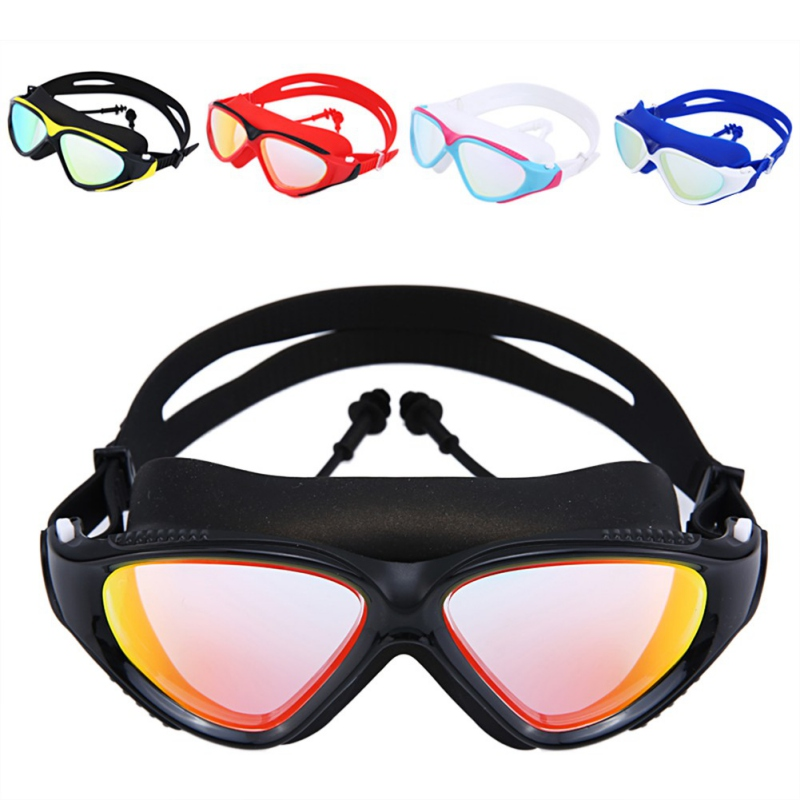 2018 Swimming Goggles Men Women High Definition Waterproof Anti-fog Flat Mirror Glasses Large Frame Lens Eyewear With Ear Plug