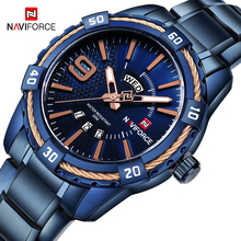 NAVIFORCE 2019 Men Watch Top Brand Luxury Full Steel Military Quartz Clock Mens Watches Fashion Blue Sport Waterproof Wristwatch