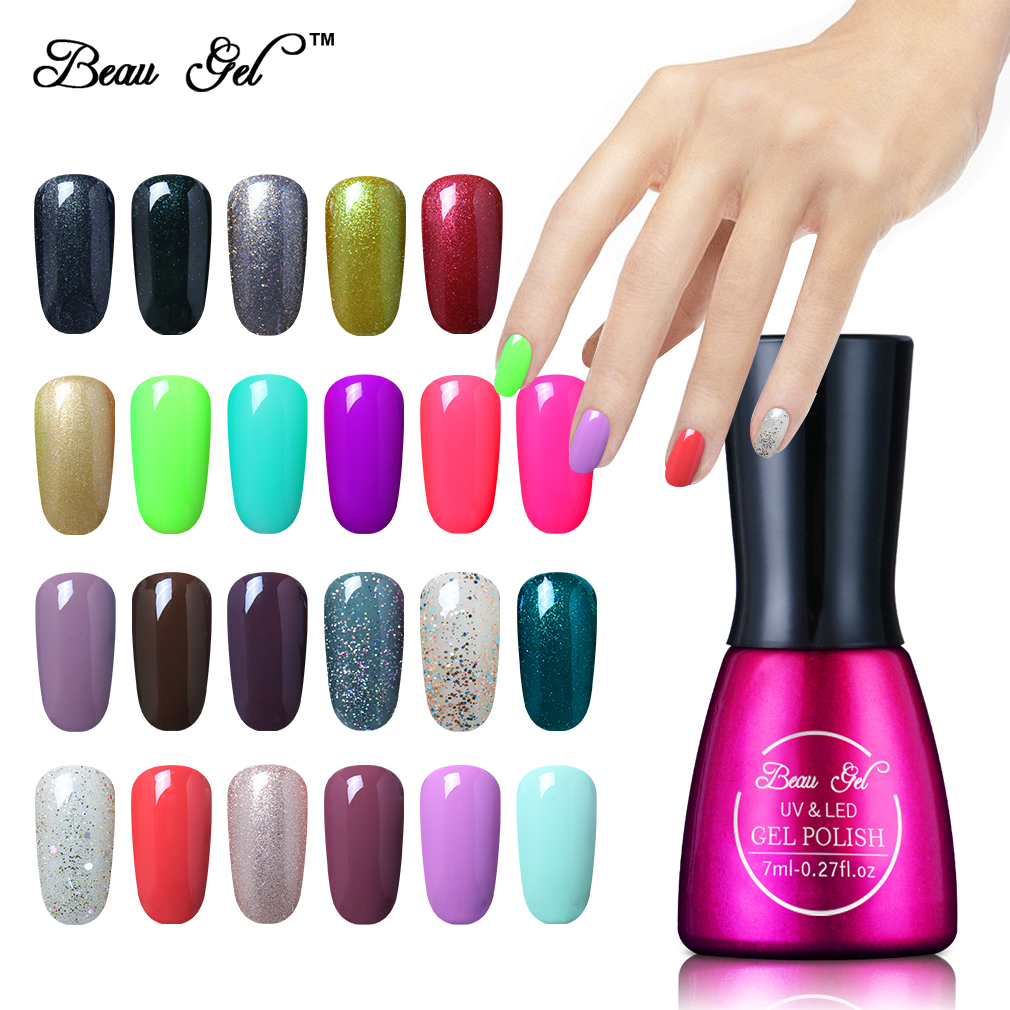 Beau Gel UV Vernis Semi Permanen 7 Ml UV Kuku Gel Polish Rendam Off Tahan Lama LED Cat Kuku Lacquer Perlu Permen Gel Gelpolish
