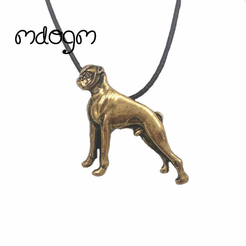 Mdogm Cute Boxer Necklace Dog Animal Pendant Antique Gold Silver Plated Jewelry For Women Male Female Girls Ladies N081