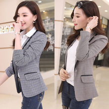 J67690 Women Plaid Blazers and Jackets Suit Ladies Long Sleeve Work Wear Blazer Plus Size Casual Female Outerwear Work Coat cheap LanLoJer REGULAR Notched Single Button Polyester Full Office Lady Pockets