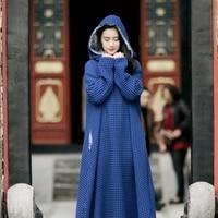 [Aigyptos MMJ] Оригинальный Дизайн осень Для женщин Винтаж негабаритных свободные с длинным рукавом Сгущает хлопок лен Hooded Maxi Dress халат
