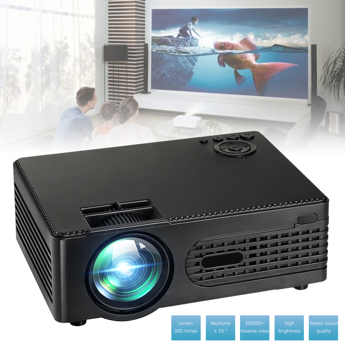 Mini30 2200 Lumens Video Home Cinema LED Full HD Projector with Loudspeaker Remote Control for Home Entertainment Conference(China)