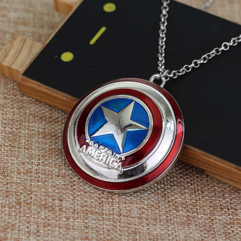 dongsheng Marvel Comics Captain America Necklace The Avengers Pendant Fashion Shield Metal Alloy Chain Necklaces Gift -30